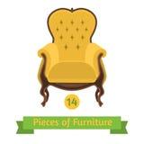 家具,巴洛克式古色古香的椅子,平的设计 免版税库存照片