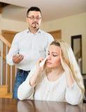 家庭争吵在家 库存照片