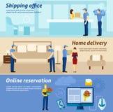 家庭交付被设置的提供清洁服务或膳食的公寓横幅 图库摄影