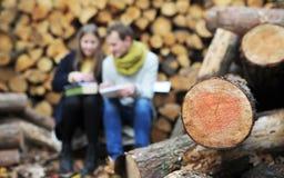 年轻家庭享用秋天公园 免版税库存照片