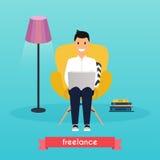 家庭人工作 椅子人坐的年轻人 向量例证