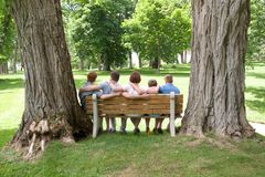 家庭从后面与大树 免版税库存照片