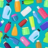 家庭传染媒介整理家事的瓶清洁装瓶组装模板化学制品液体国内流动擦净剂 库存例证