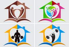 家庭体操徽标 免版税图库摄影
