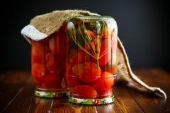 家庭保存 装于罐中在一个玻璃瓶子成熟蕃茄 免版税库存照片