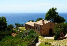家庭俯视的撒丁岛海运 免版税图库摄影