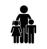 家庭做父母剪影被隔绝的象 库存例证