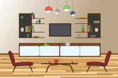 家庭内部平的设计 有家具的居住的和餐厅 免版税库存照片
