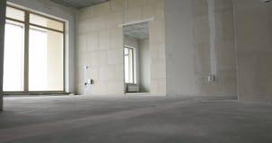 家庭内部步行通过没有完成的新的公寓 股票视频