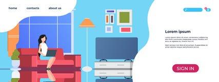 家庭内部登陆的页 使用膝上型计算机生活方式轻松的女孩的妇女坐沙发 传染媒介家工作场所网站 库存例证