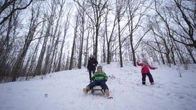 家庭冬天活动,雪橇乘驾的孩子男孩从多雪的小山在森林里 股票录像