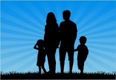 家庭剪影 免版税库存图片