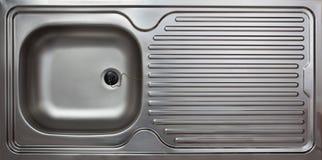 家庭厨房水槽,钢 图库摄影