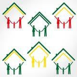 家庭和家庭彩色插图 免版税库存照片