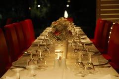 家庭和工作晚餐的装饰的桌 库存图片