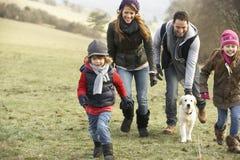 家庭和狗获得乐趣在国家在冬天 免版税库存图片