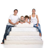 家庭和许多床垫 图库摄影