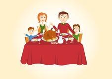 家庭圣诞晚餐 库存照片