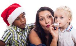 家庭圣诞节庆祝 免版税库存照片
