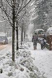家庭在城市边路走在期间丰富降雪 库存照片