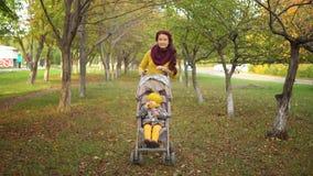 家庭在晴朗的秋天公园 库存照片