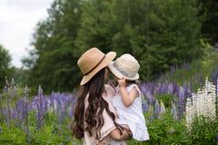 家庭在暑假时在木沼地 免版税库存图片