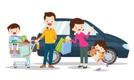 家庭在白色背景隔绝的购物字符,动画片样式,爸爸儿子妈妈女儿购物 库存例证