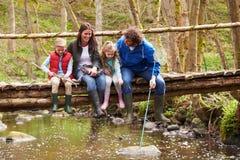 家庭坐桥梁渔在有网的池塘 免版税库存图片