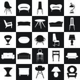 家庭家具,例证构思设计集合, 免版税库存照片