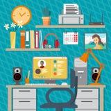 家庭工作区的平的现代设计传染媒介例证概念 免版税库存照片