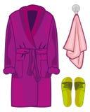 家庭布料长袍、毛巾和拖鞋 也corel凹道例证向量 库存例证