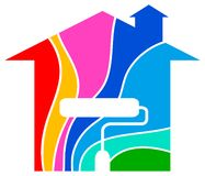 家庭徽标绘画 免版税库存照片