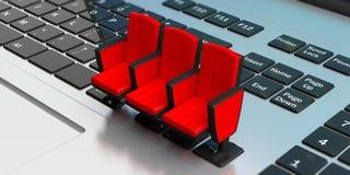 家庭戏院概念 在膝上型计算机的戏院椅子 3d例证 图库摄影