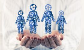 家庭成员的蓝色标志作为一个机制的在人提出了 图库摄影