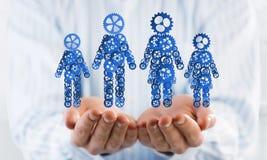 家庭成员的蓝色标志作为一个机制的在人棕榈提出了 免版税库存照片