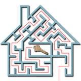 家庭房子关键字迷宫难题影子解决方&# 免版税图库摄影