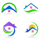 家庭房子商标房地产建筑住宅标志传染媒介象集合 免版税库存图片
