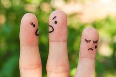 家庭手指艺术在争吵期间的 免版税库存照片