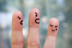家庭手指艺术在争吵期间的 库存图片
