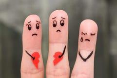 家庭手指艺术在争吵期间的 库存照片