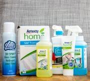 家庭护理的多个Amway产品 免版税库存照片