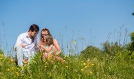 家庭拥抱的坐草甸 库存图片