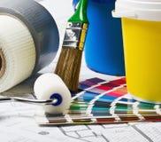 家庭整修的工具和辅助部件 免版税库存照片