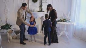 家庭新年照片写真闪光光 股票录像