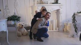 家庭新年照片写真闪光光 股票视频