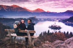 家庭旅行欧洲 流血的湖斯洛文尼亚 免版税库存照片