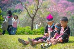 家庭时间在Khun张Kian 库存照片