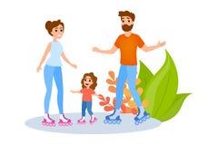 家庭是四轮溜冰 夏天室外活动 母亲 库存例证