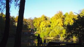 家庭有在一个美丽的池塘附近休息在城市公园在秋天 股票视频