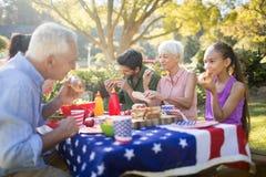 家庭有膳食在公园 库存照片
